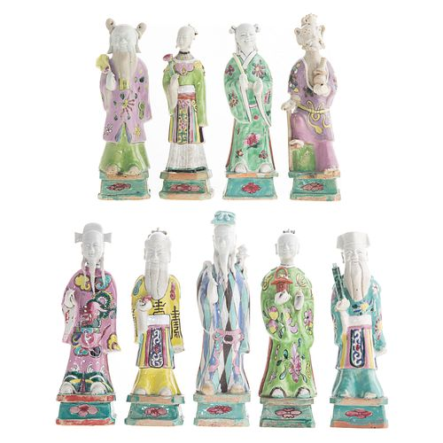 Nine Chinese Porcelain Deity Figures