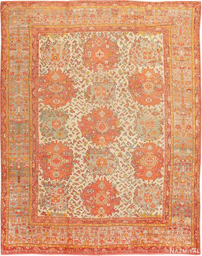 Antique Turkish Oushak carpet , 12 ft x 16 ft (3.66 m x 4.88 m)