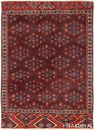 Antique Yomud rug , West Turkmenistan ,4 ft 3 in x 6 ft (1.3 m x 1.83 m)