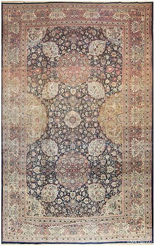 Antique Persian Tehran rug , 14 ft 3 in x 22 ft 3 in (4.34 m x 6.78 m)