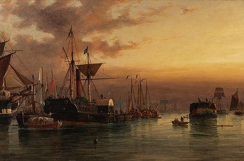 Richard Henry Nibbs (British, 1816-1893)      European Harbor at Dusk