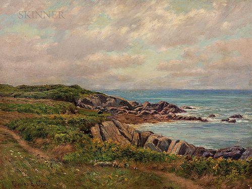 Edmund Elisha Case (American, 1844-1919)      Meadow by a Rocky Shore