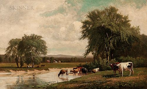 Clinton Loveridge (American, 1838-1915)      Broad Landscape with Cows Watering in a Stream