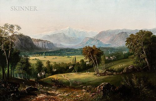 American School, 19th Century      Expansive Green Valley with Distant Snowcapped Peaks