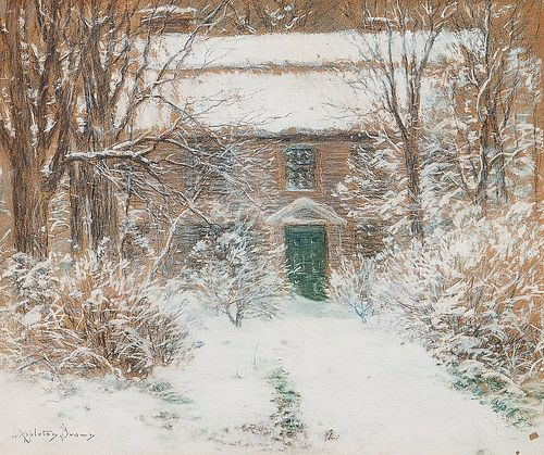 John Appleton Brown (American, 1844-1902)      Antique Home in Newly Fallen Snow