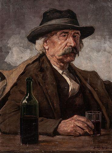 Árpád Feszty (Hungarian, 1856-1914)      Portrait of a Man with a Drink