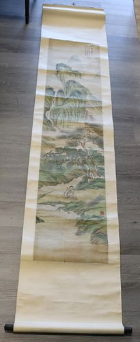 Signed Scroll Painting Landscape, Pong Yong Bi?