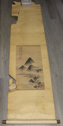 Signed Chinese Landscape Scroll Painting.
