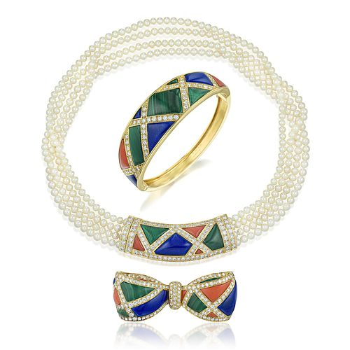 Van Cleef & Arpels Diamond and Multi-Colored Inlay Gemstone Set