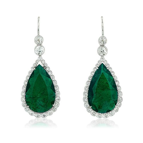 Colombian Emerald and Diamond Earrings, 17.04 CTW