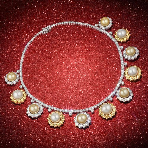 Boucheron Diamond Yellow Sapphire and South Sea Cultured Pearl Necklace