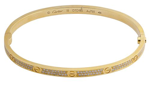 Cartier 18k Yellow Gold and Diamond 'Love' Bracelet