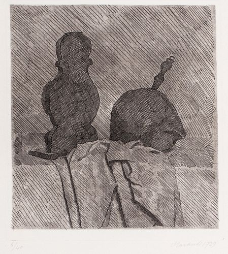 Giorgio Morandi (Bologna 1890-1964)  - Still life with two objects and a cloth on the table, 1929