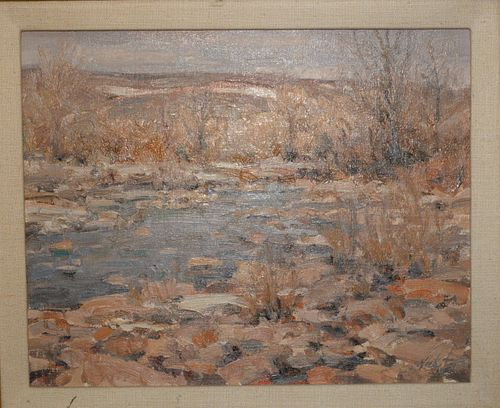 """Terrance Hick (b. 1950), oil on board, landscape, entitled on verso """"Deer Creek"""", dated on verso Feb. 92', signed lower right Hick, 11"""" x 14""""."""