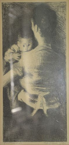 """Raphael Soyer, lithograph, entitled """"Protected"""", pencil signed and titled, Far Gallery label on verso, sight size 14"""" x 6.75""""."""