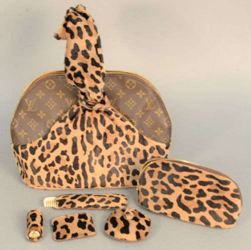 "Louis Vuitton ""Alaia"" centenaire monogram and leopard print handbag with matching purse, compact, comb and small pouch, ""1896 - 1996 SN-BA 1906""."