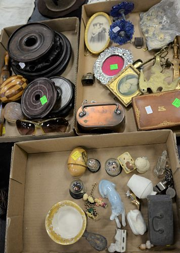 Three tray lots to include early brass escutcheons, pair tiebacks, four Chinese stands, small safe, frames and miscellaneous.