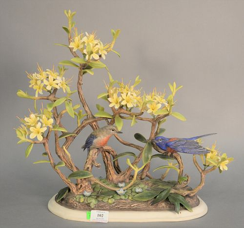 "Boehm ""Western Bluebirds"" porcelain sculpture, ht. 17 1/2""."