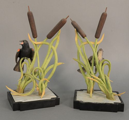 "Boehm ""Red-Winged Blackbirds"" porcelain sculptures to include male and female, #426, ht. 15.25""."