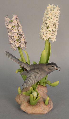 """Boehm """"Catbird"""" with hyacinths porcelain sculpture, ht. 15.5""""."""