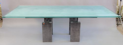 """Glass top dining table with frosted center on iron base, ht. 29"""", top 44"""" x 96"""""""