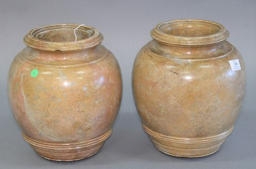 """Pair of large stone urns, ht. 12""""."""