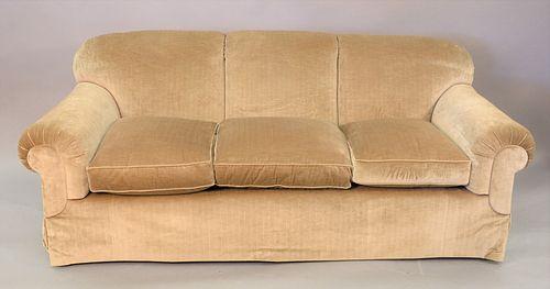 """Custom upholstered sofa, ht. 32"""", wd. 80""""."""