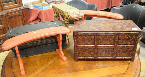 """Five piece group to include pair of red lacquer stands, basket, lift top box along with a painted tiger, ht. 14"""". Estate of Marilyn Ware, Strasburg, P"""