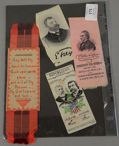Three ribbons including Republican Candidates for President and Vice President J.G. Blaine of Maine and JA Logan of Illinois made in Marlboro, CT, Buc