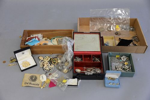 Two tray lots to include foreign coins, sterling silver jewelry, Ebel ladies wristwatch, silver charm bracelets, and costume jewelry.