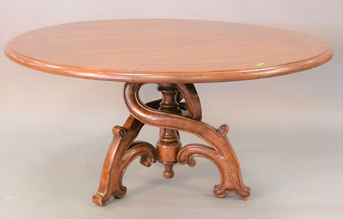 """Round table with carved pedestal, ht. 29"""", dia. 60""""."""