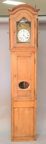 """19th C. French tall clock with embossed brass and enameled dial, ht. 96 1/2"""", wd. 21""""."""