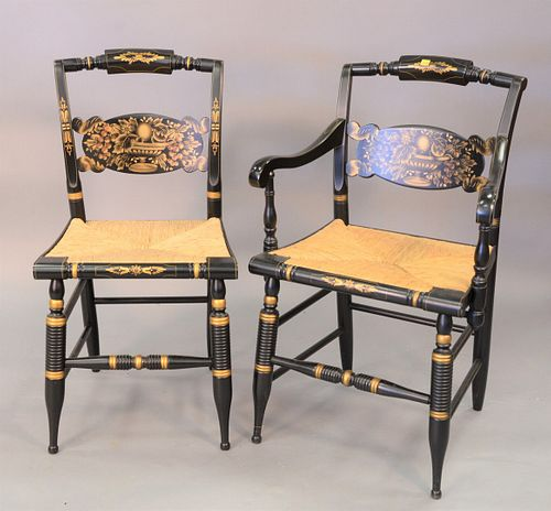 Set of eight Hitchcock pillow back chairs to include four armchairs and four side chairs.