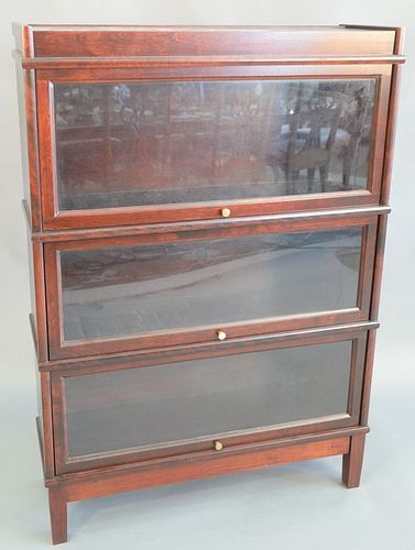 """Pair of contemporary barrister bookcases, three sections each, 53"""" x 34""""."""