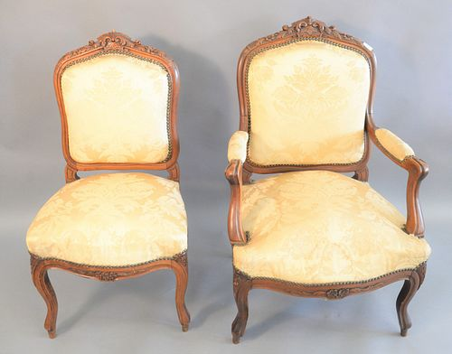 Set of six Louis XV style armchairs to include two armchairs along with four side chairs (upholstery staining and tears).