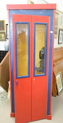 """Telephone booth with coin operated telephone, ht. 81"""", wd. 30"""", dp. 30""""."""