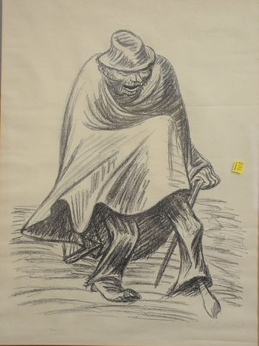 "Ernst Barlach lithograph ""Vergnug Einbein"" pencil signed, ed. 54/702, sight size 24"" x 18""."