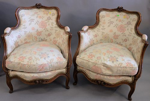 """Pair of Louis XV style small bergeres with custom upholstery, ht. 30"""", wd. 26""""."""
