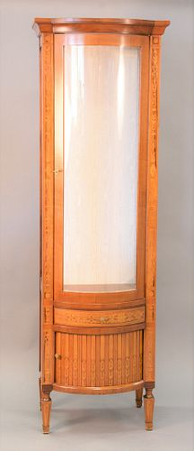 """Inlaid curio cabinet with bowed glass door, glass shelves and tambor door and drawer in bottom, ht. 76"""", wd. 22""""."""