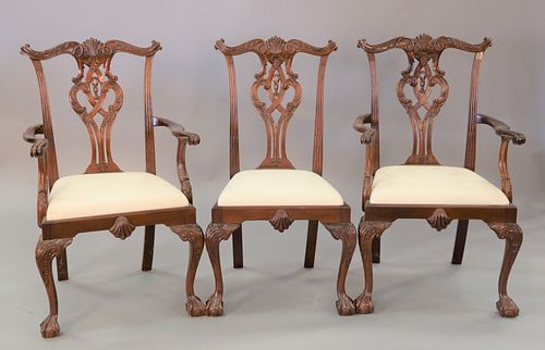 Set of eighteen mahogany Chippendale style dining chairs to include 2 armchairs and 16 side chairs, ht. 40.5""