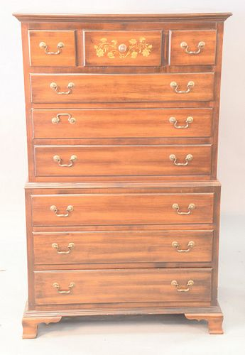 """Three piece lot to include Hitchcock chest on chest, ht. 57"""", wd. 33"""" along with pair of Hitchcock one drawer tables, ht. 22"""", tops 19"""" x 26."""