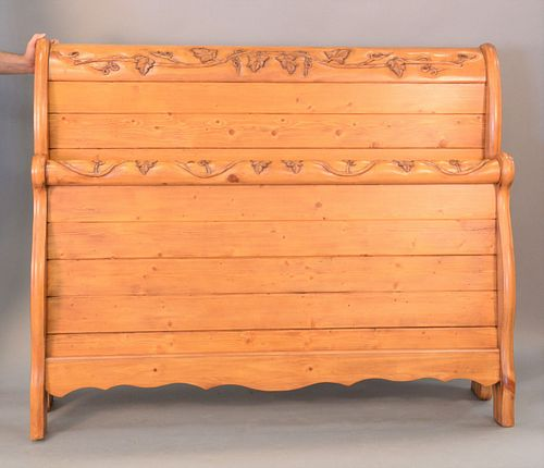 """Queen size pine sleigh bed, ht. 50""""."""