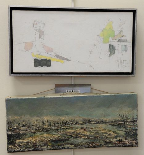Three piece lot to include Backman (20th C.) abstract of harbor scene with houses and boat, signed lower right 'Backman', Monede Gallery label on vers