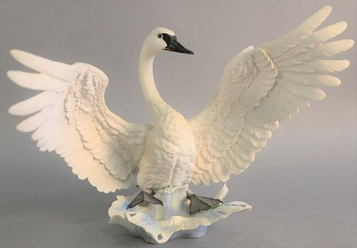 """Boehm """"Trumpeter Swan"""" porcelain sculpture, by Edward Marshall #436. ht. 14 1/4""""."""