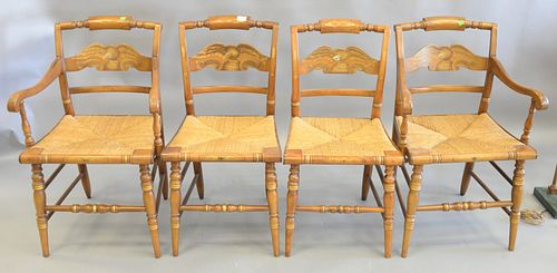 Set of four Hitchcock chairs with eagle backs, two armchairs, two side chairs.