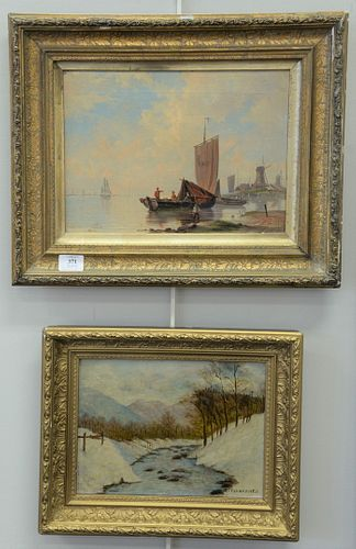 """Two framed oil on canvas to include fisherman on coast, unsigned along with LT Fahrestock oil on canvas of winter river landscape, 11"""" x 14"""" and 9"""" x"""