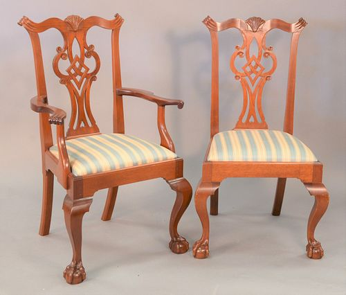 "Set of eleven custom mahogany Chippendale style dining chairs, one armchair, ten side chairs, all with custom pinned construction, ht. 40""."