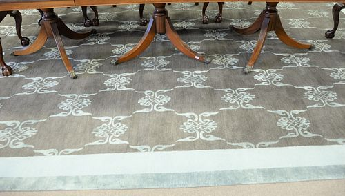 "Silk custom carpet, 11' x 14' 9"", est. now $300-$500 due to minor moth damage."