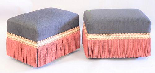 "Pair of custom upholstered ottomans, ht. 18"", top: 17"" x 25""."
