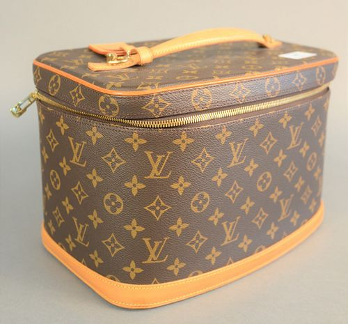 "Louis Vuitton travel cosmetic case, shoulder bag monogrammed. ht. 8"", wd. 12"", dp. 8""."